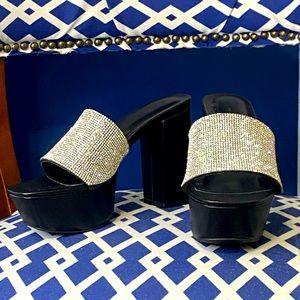 Wild diva rhinestone bling thick chunky heel mules